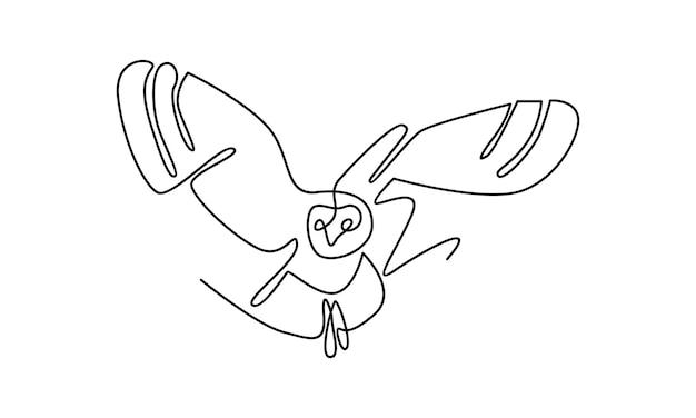 Linha contínua de ilustração de coruja