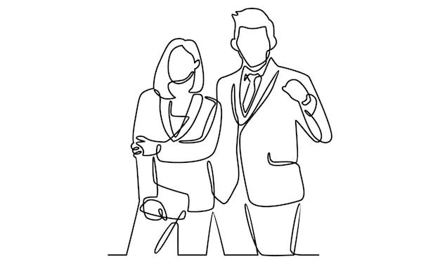 Linha contínua de ilustração de empresário e mulher de negócios