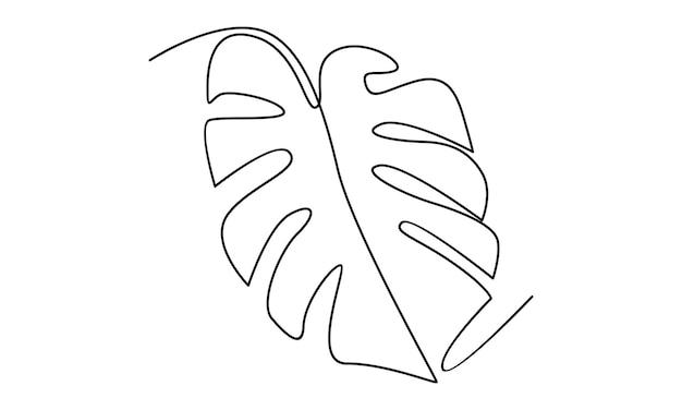 Linha contínua de ilustração de folha de monstera