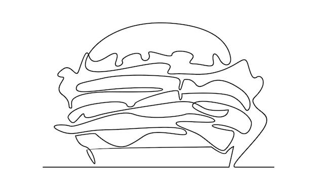 Linha contínua de ilustração de hambúrguer