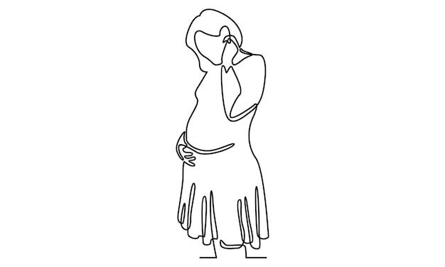 Linha contínua de ilustração de mulher grávida