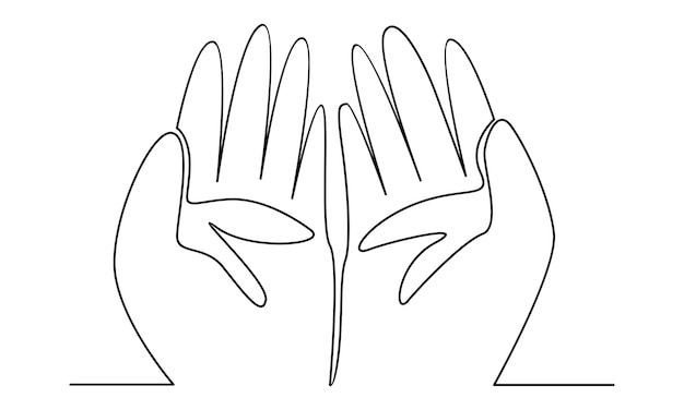 Linha contínua de ilustração de orações de mãos muçulmanas