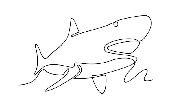 Linha contínua de ilustração de tubarão
