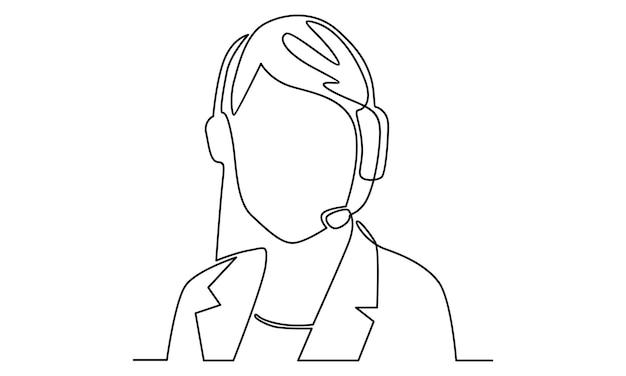 Linha contínua de ilustração feminina de atendimento ao operador de atendimento ao cliente