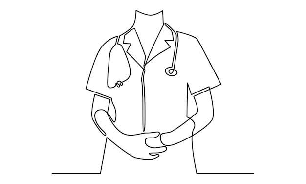 Linha contínua de ilustração médico