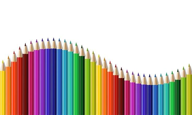 Linha contínua de lápis colorido como onda