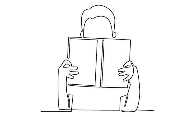 Linha contínua de leitura de uma ilustração de livro