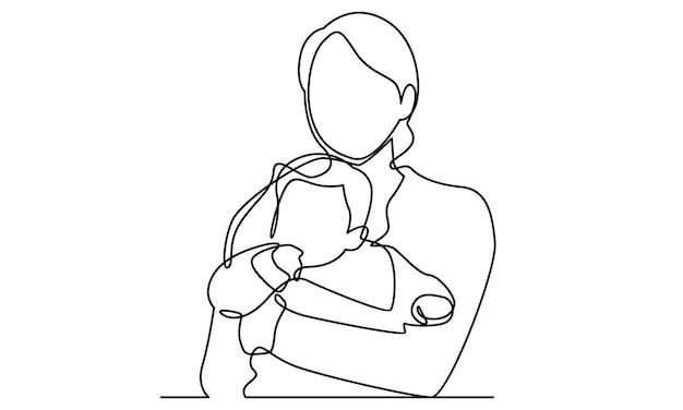 Linha contínua de mãe abraçando seu filho. ilustração de feliz dia das mães