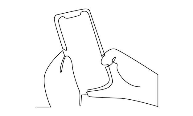 Linha contínua de mão segurando a ilustração do telefone