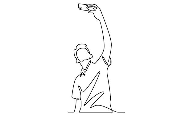 Linha contínua de menino tirando uma selfie com ilustração de telefone
