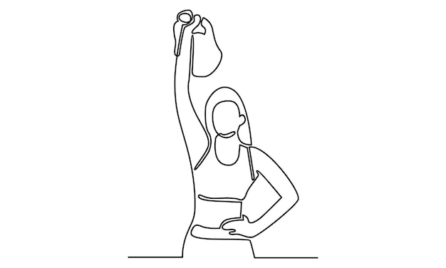 Linha contínua de mulher atleta com ilustração de pesos