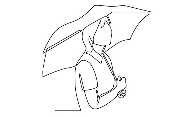 Linha contínua de mulher com ilustração de guarda-chuva