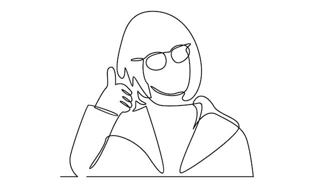 Linha contínua de mulher com ilustração de sinal de polegar para cima