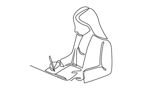 Linha contínua de mulher escrevendo sobre a ilustração de um livro