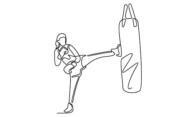 Linha contínua de mulher exercitando muay thai com ilustração de um saco de areia de boxe ajoelhado