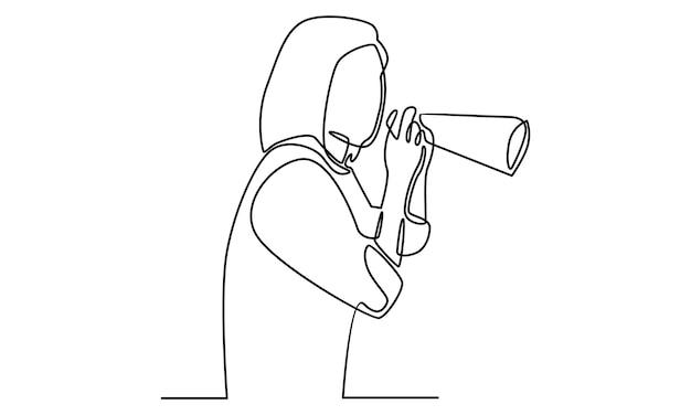 Linha contínua de mulher falando em ilustração de megafone