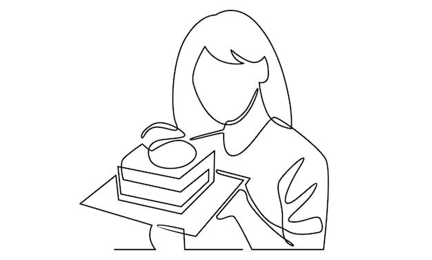 Linha contínua de mulher segurando ilustração de bolo