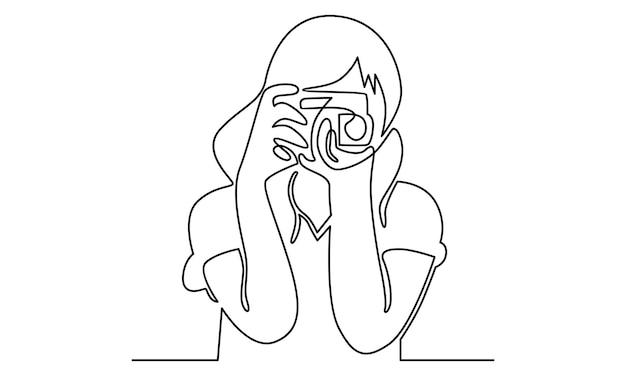 Linha contínua de mulher segurando ilustração de câmera digital