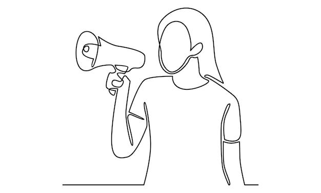 Linha contínua de mulher segurando uma ilustração de alto-falante