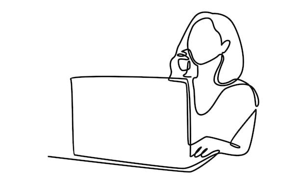 Linha contínua de mulher trabalhando com ilustração de laptop