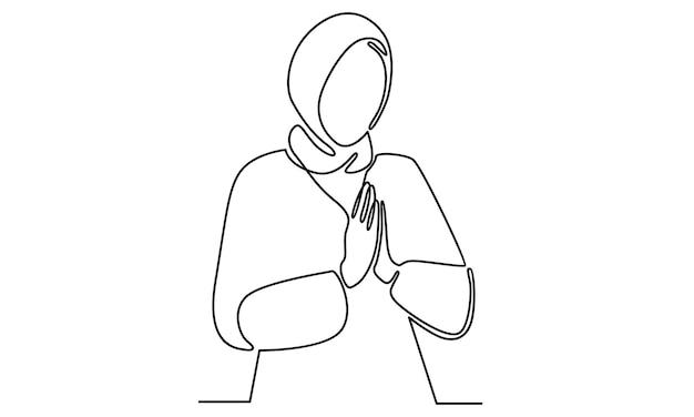 Linha contínua de mulheres árabes com ilustração de hijab