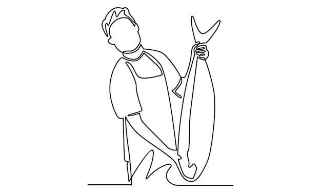 Linha contínua de pescadores mostrando ilustração de peixes grandes