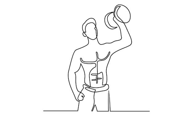 Linha contínua de um homem segurando uma ilustração de haltere