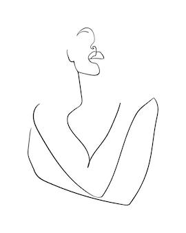 Linha contínua, desenho de uma bela mulher se abraçando com as mãos cruzadas. estilo de minimalismo. - ilustração vetorial