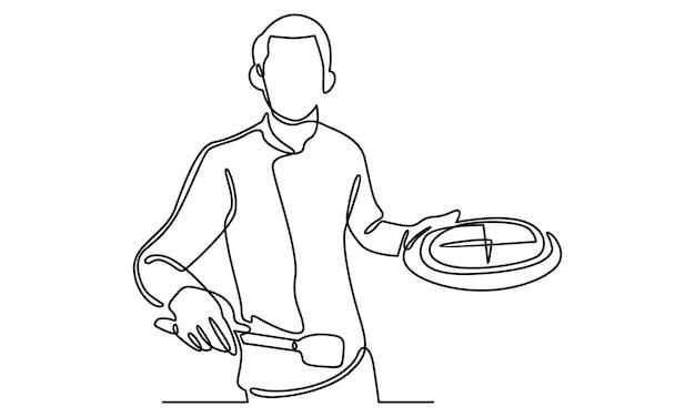Linha contínua do chef segurando uma bandeja com ilustração de pizza
