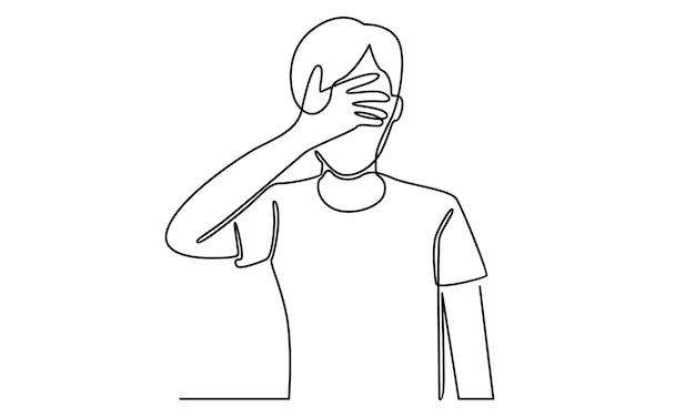 Linha contínua do homem fechando os olhos com ilustração da palma da mão