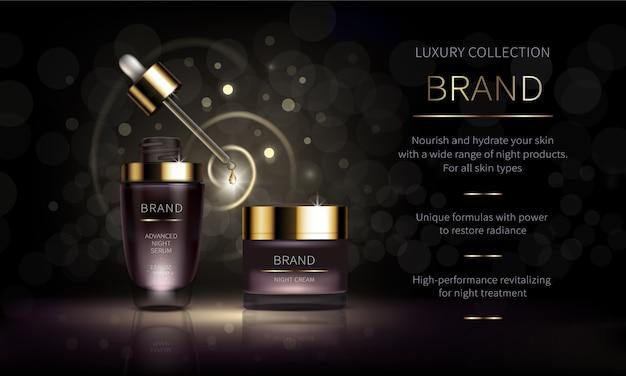 Linha cosmética noturna para cuidados com a pele do rosto