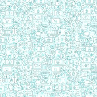 Linha criptomoeda branco padrão sem emenda. ilustração em vetor de fundo de telha de contorno. itens financeiros do bitcoin.