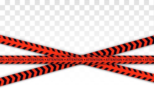 Linha da polícia vermelha fita de advertência, perigo, fita isolante. covid-19, quarentena, pare, não atravesse, fronteira fechada. barricada vermelha e preta. zona de quarentena devido ao coronavírus. sinais de perigo.