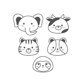 Linha de animais bebê fofo