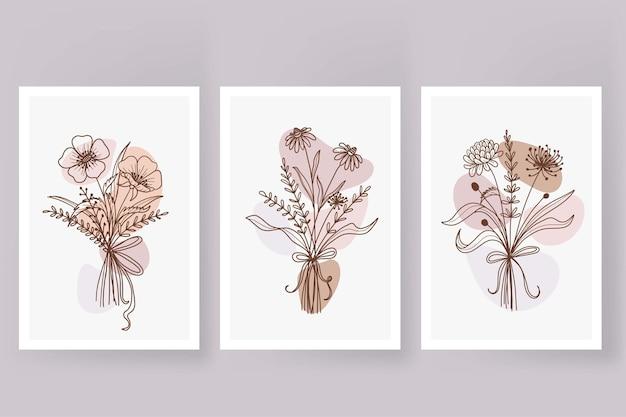 Linha de arte de doodle de buquê de flores em estilo vintage