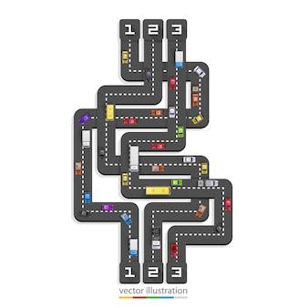 Linha de arte de informação de ponto de estrada. ilustração vetorial