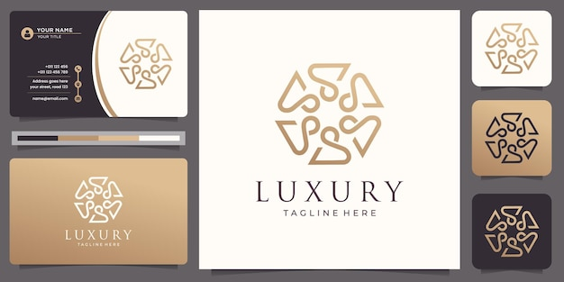 Linha de arte de padrão de ornamento de luxo dourado elegante design de logotipo de ouro e cartão de visita.