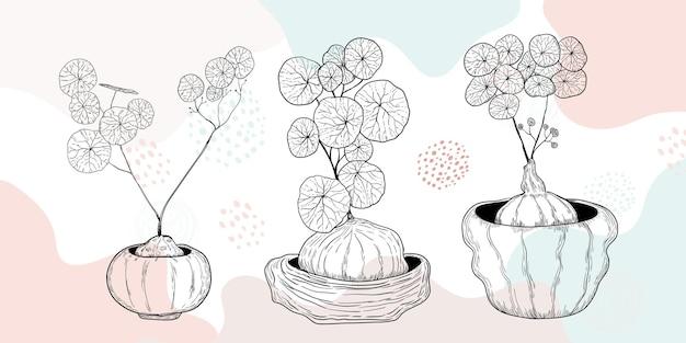 Linha de arte desenhada à mão lindas flores de plantas folhas de fundo abstrato minimalista