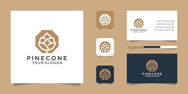 Linha de arte e cartão de visita do logotipo pine cone