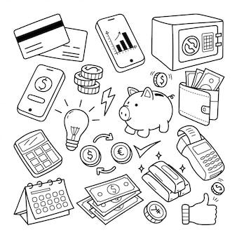 Linha de bancos e finanças doodle ilustração
