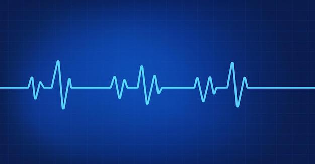 Linha de batimento cardíaco em fundo azul Vetor Premium