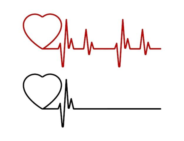 Linha de batimento cardíaco vermelha e preta. linha vermelha de pulsação de vida e linha negra de pulsação de morte. coração vermelho e preto com palpitações. ilustração vetorial.
