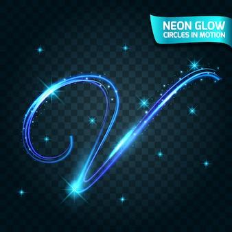 Linha de brilho de néon em movimento borrado bordas, letras piscando, férias de design mágico e colorido anéis brilhantes abstratos diminuem a velocidade do obturador do efeito.