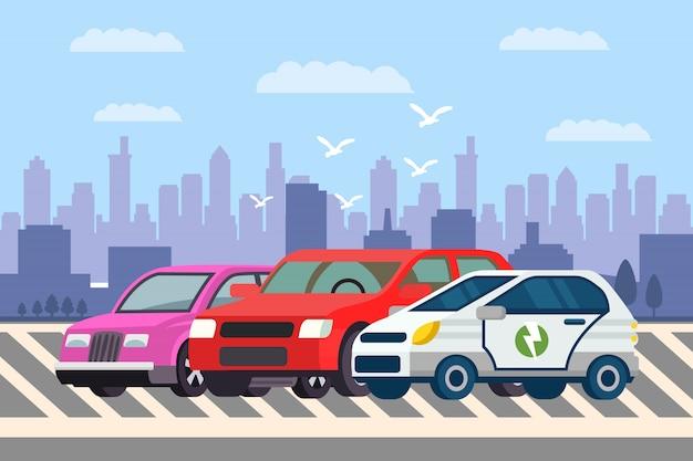Linha de carros em ilustração vetorial de estacionamento
