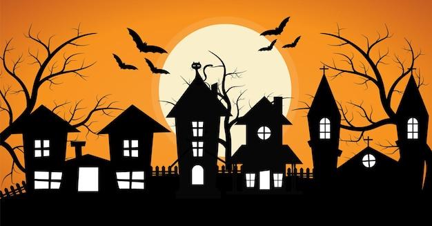 Linha de casa assustadora com fundo de halloween de árvore assustadora e morcego