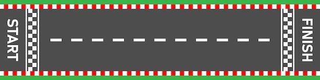 Linha de chegada da linha de chegada vista superior da estrada de asfalto da pista de corrida
