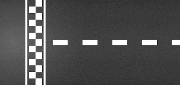 Linha de chegada de corrida vista superior, kart, estrada de asfalto.