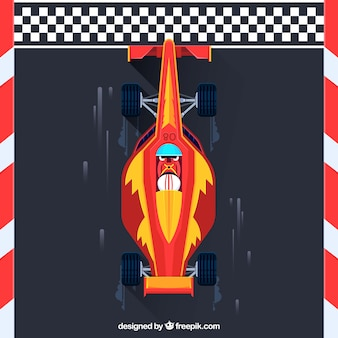 Linha de chegada de cruzamento de carro de fórmula 1