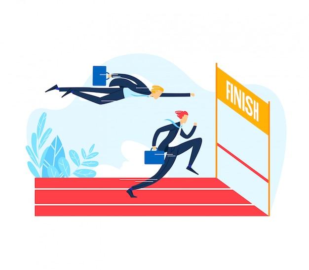 Linha de chegada running do caráter do homem de negócios, homem foge a empresa de negócio da competição da escada rolante ao ar livre, concorrente isolado na ilustração branca, lisa.
