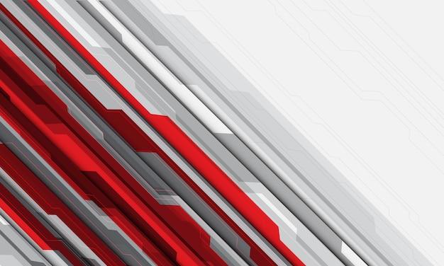 Linha de circuito cinza vermelha cyber fundo branco tecnologia futurista em branco espaço.